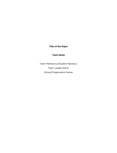 Title Page Format