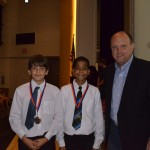 Natan Mundell, Nasir Young, Noah Scroppo (not pictured) Engineering/Physics Middle School Category Winners